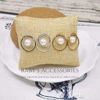 現貨→正韓簡約雙圓環珍珠造型耳環 共2色 #150391【Raby芮彼飾品】