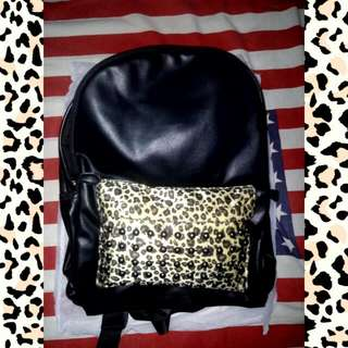 Leather Bag With Stud And Leopard Fur