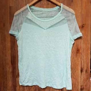 Teal Mesh Insert Top Size S