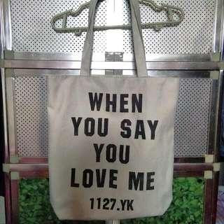 White Statement Tote Bag