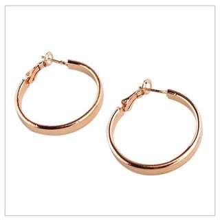全新3cm寬版圈圈耳環-玫瑰金色 3cm WIde Circle Earrings - Rose Gold