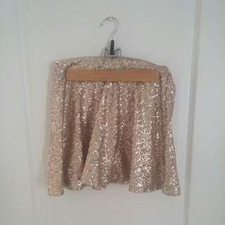 Bethany Mota Gold Sequin Skirt