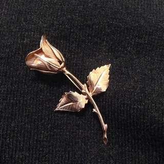古董金色玫瑰別針