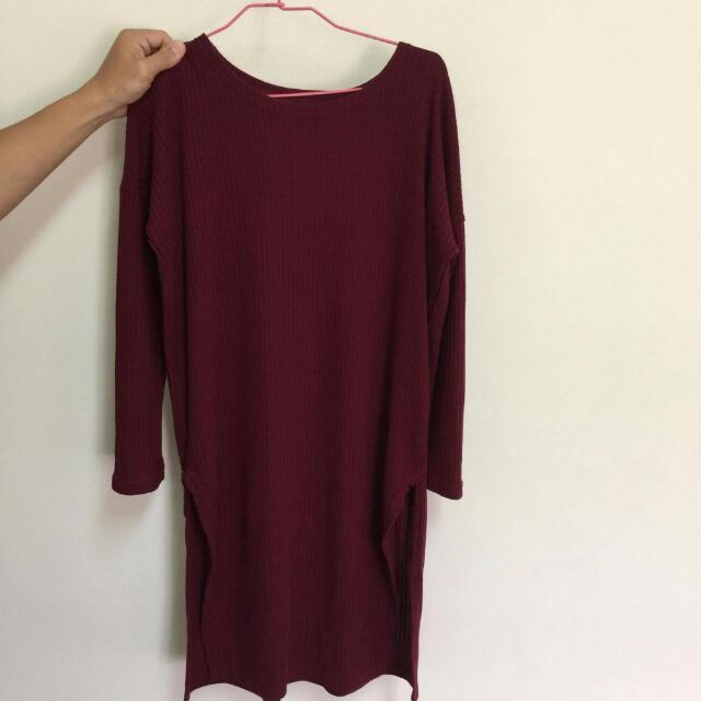 紅長版毛衣上衣