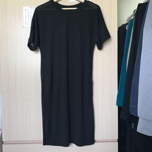基本款針織黑色長洋裝