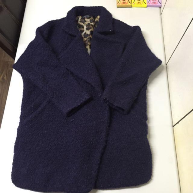深藍豹紋大衣