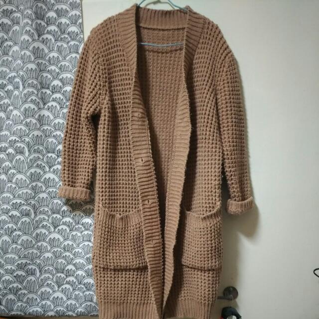 開襟針織裸色外套-秋冬款