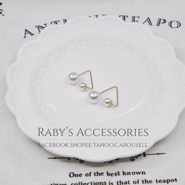 現貨→正韓簡約三角雙珍珠造型耳環 #150393【Raby芮彼飾品】