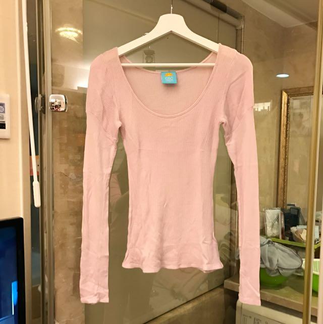 美國品牌 粉紫色純棉合身上衣