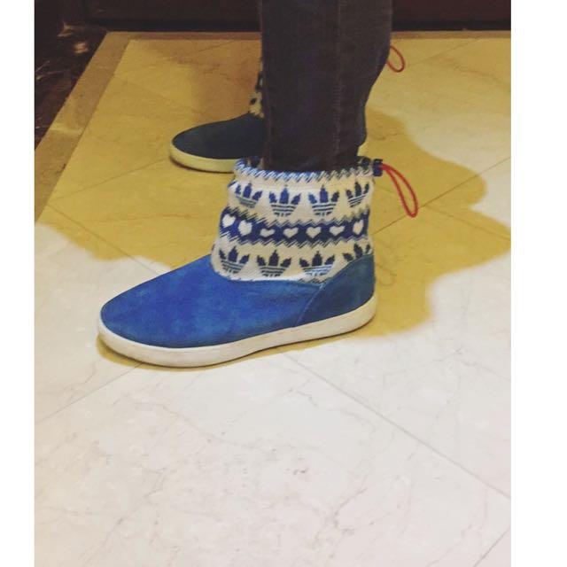 正品Adidas藍色短靴