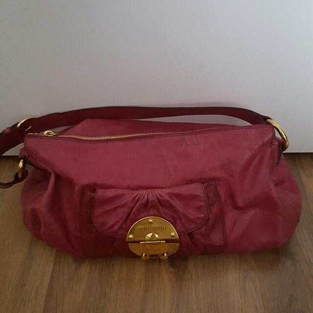 Authentic Miu Miu Leather Bag, Dark Pink (Priced Reduced: $550)