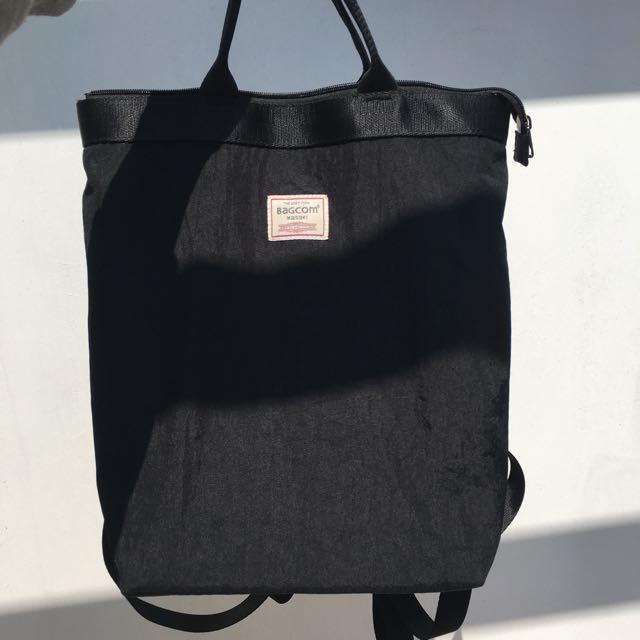 Bagcom 黑色手提後背包