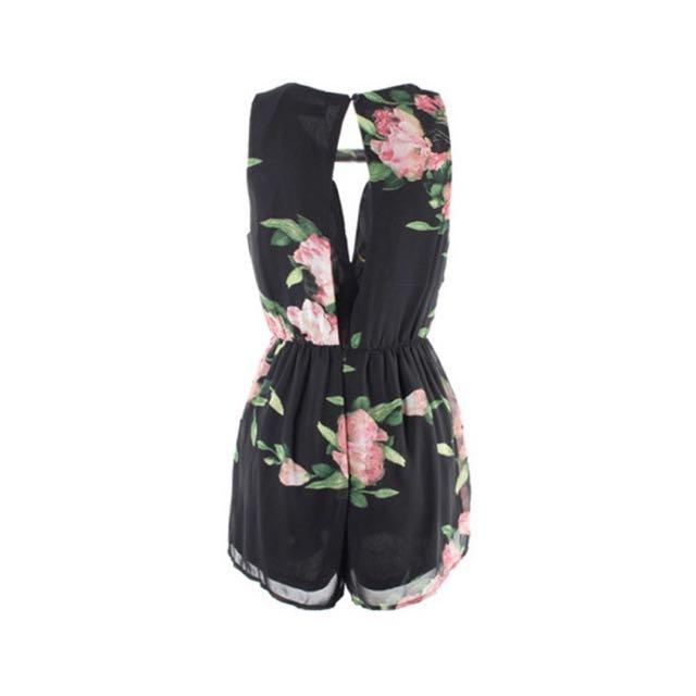 Black Floral Playsuit Size 6-8