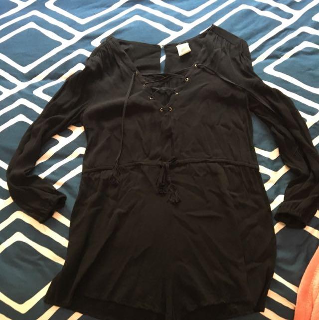 Black Lace Up Playsuit