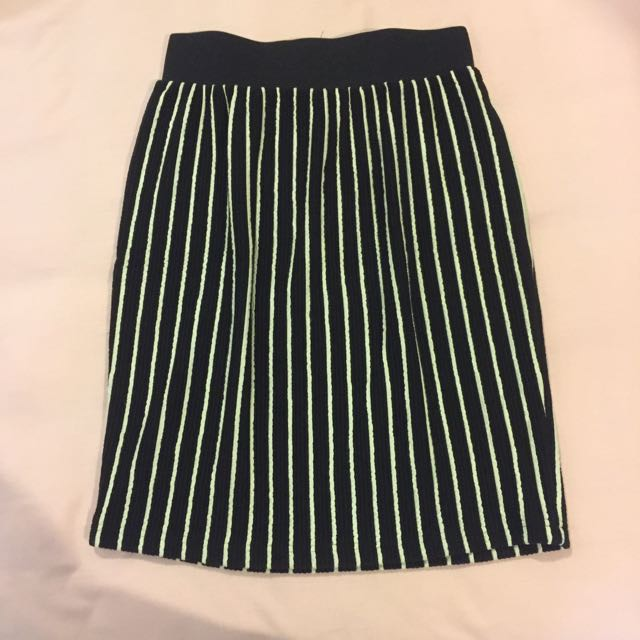 Bodycon Navy White Stripes Skirt