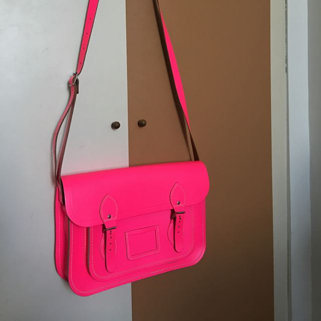 "Cambridge Satchel (14"" Fluorescent Pink)"