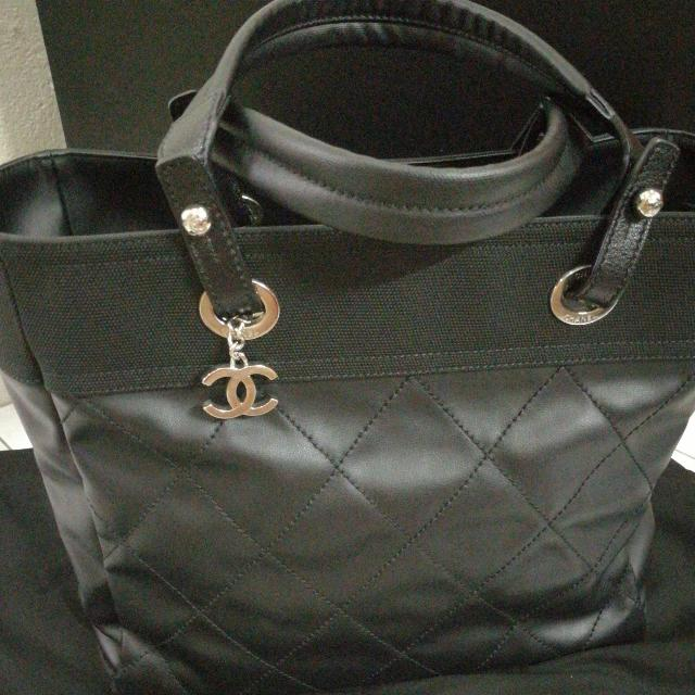 2b9467522fab Chanel Biarritz Tote In Black PRICE REDUCED JUN11, Luxury, Bags ...