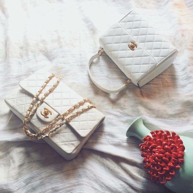 Chanel coco25cm 白色金鍊