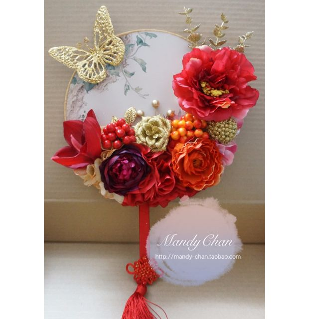 Chinese Bridal round hand fan embellished with red/ gold flowers, Design & Craft, Handmade Craft on Carousell