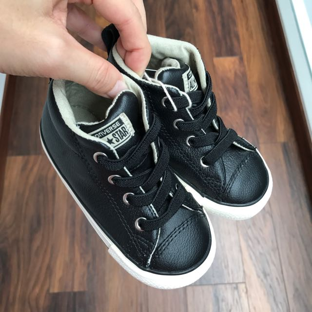 Converse Black Leather Shoes