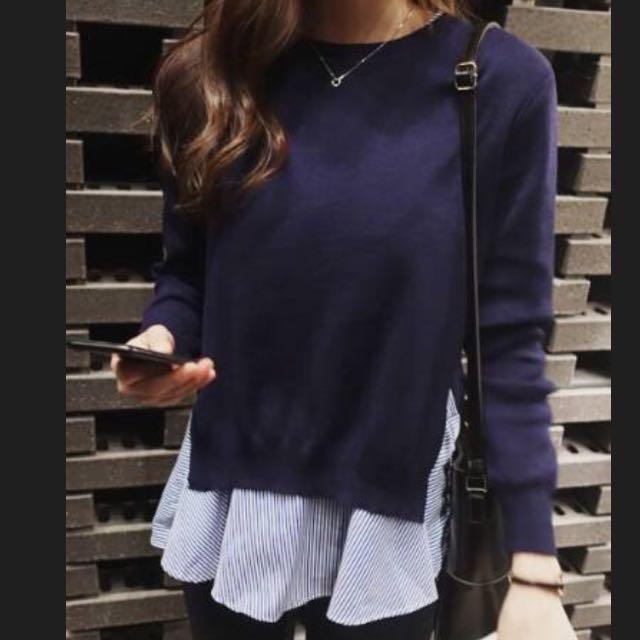 轉賣Dream Color韓國代購兩件式藍條紋針織上衣
