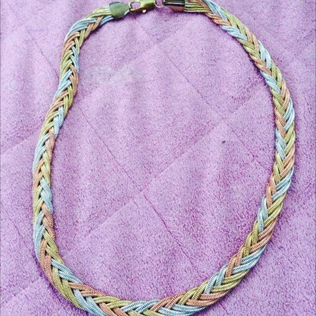 Gold-silver-bronze Rope Necklace