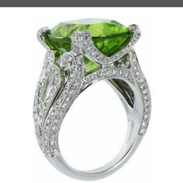 Green Emerald cut  Crystals throughout. 925 SS  Sz's 6 through 10