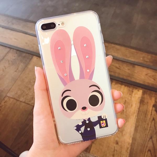 瘋狂動物城iPhone7手機殼朱迪兔子蘋果7透明全包軟殼4.7鑲鑽