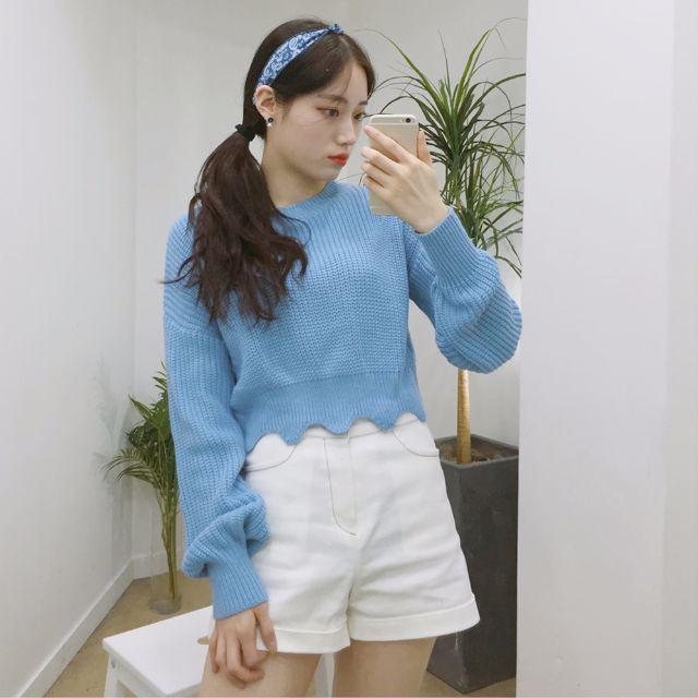 全新【MIXXMIX】正品 韓國 燈籠袖 波浪 下襬 短版 針織 上衣