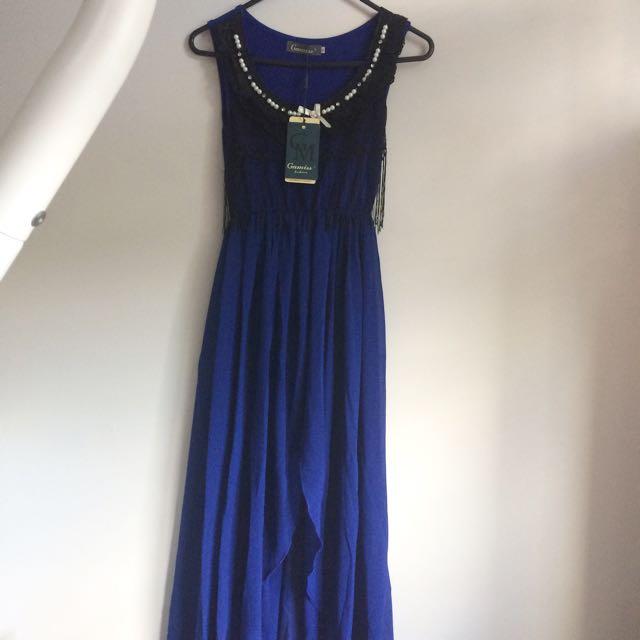 NEW BLUE CHIFFON DRESS
