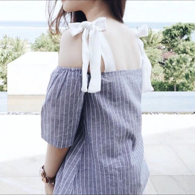 NEW Ribbon Shoulder Top In White