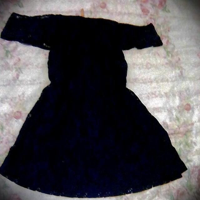 Off Shoulder Dark Blue Laced Dress