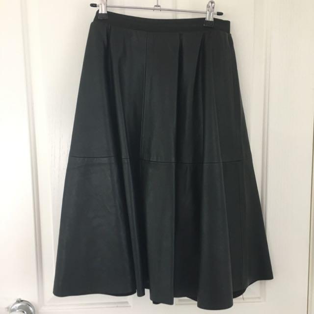PU Leather Black A Line Skirt