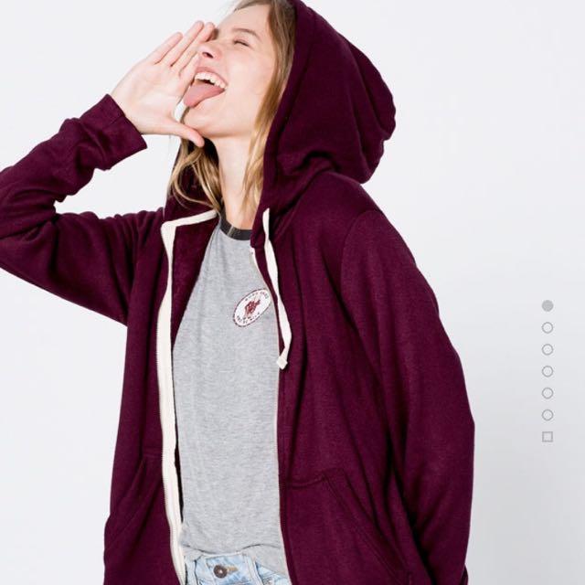 pull&bear hooded sweatshirt maroon / jacket hoodie