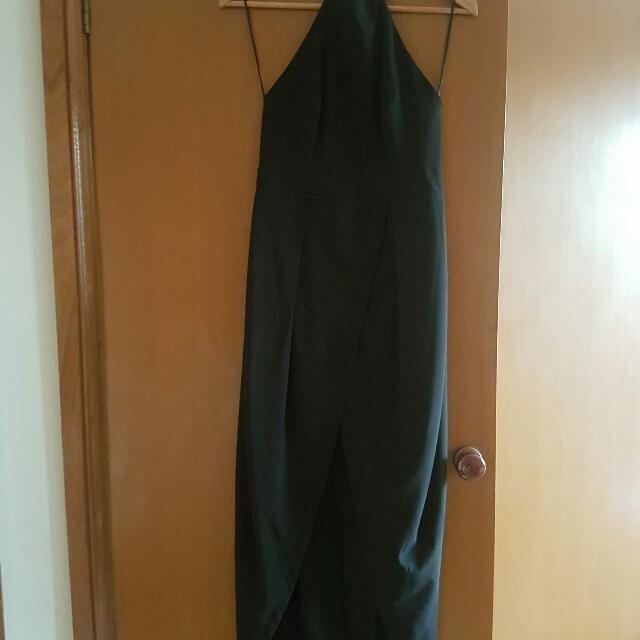 Size 10 Halter Neck Open Back Tulip Maxi Black