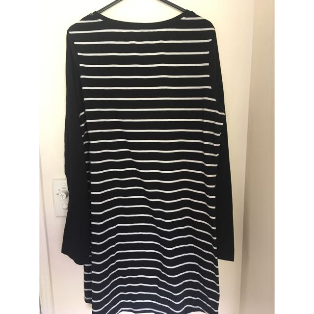 Size L Factorie Striped Black Dress