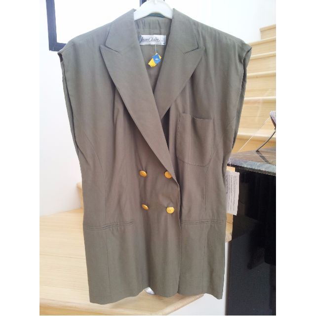 VINTAGE Green Sleeveless Blazer PLUS SIZE - timeless, classic, gold buttons, collar, pockets