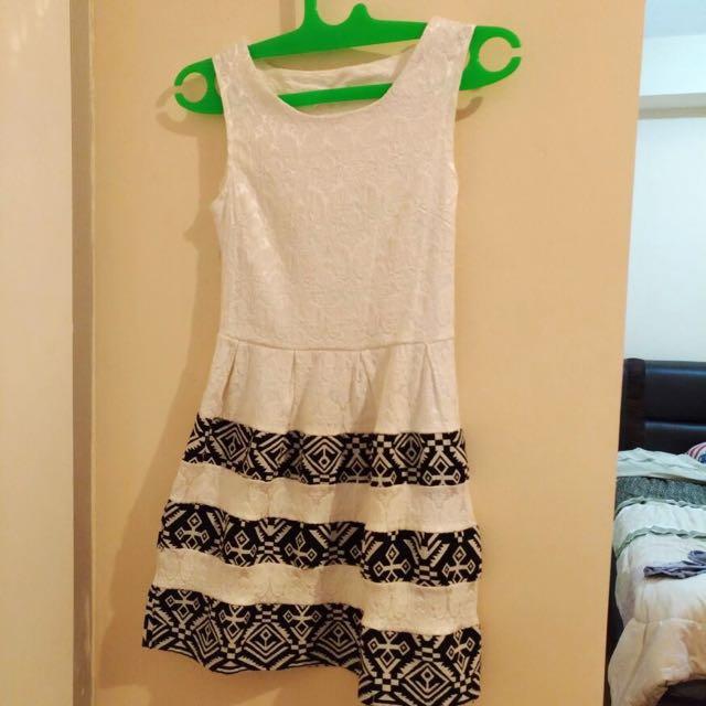 White-black Striped Dress