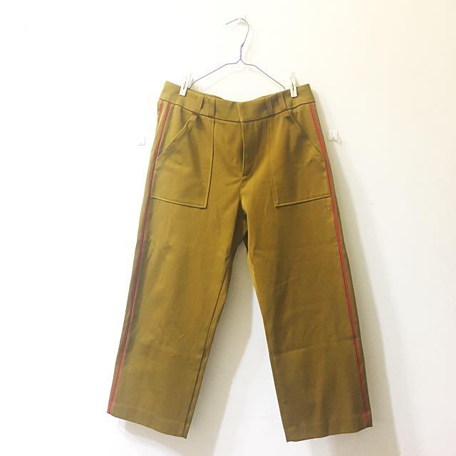 Zara 芥黃色寬褲💛