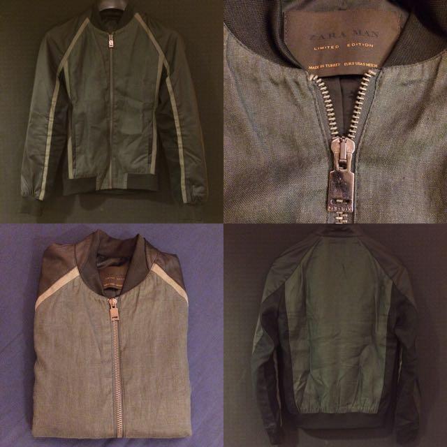 Zara Men Limited Edition S號 Leather Bomber 騎士風 異材質拼接 飛行外套 亞麻