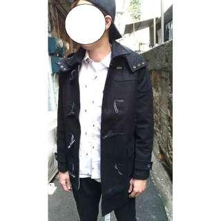 超高磅數  羊毛尼 牛角扣中長板 黑色 大衣外套 S.M.L.XL