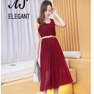 #597 Korean High Waist Mesh Fit and Flare Dress (Maroon)