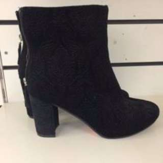 Black Booties with embroidery detail