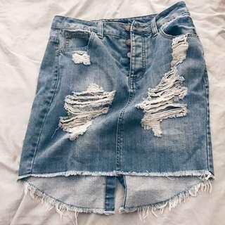 Ripped Denim Midi Skirt