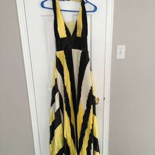 Stripped Halter Gown