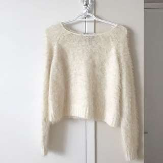 Cream Fuzzy Cropped Jumper
