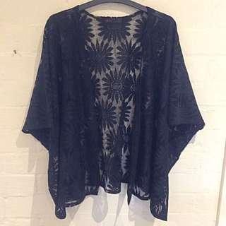 Black Kimono Type Top