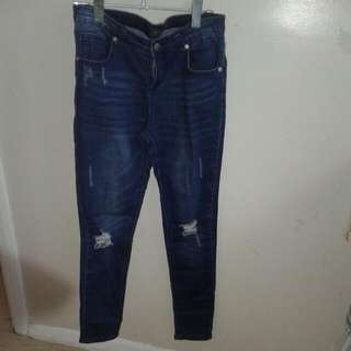 Mirrou Dark Blue Torn Jeans Size 10