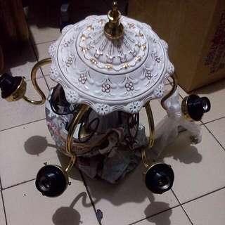 古物 吊燈 陶瓷 金屬 玻璃罩
