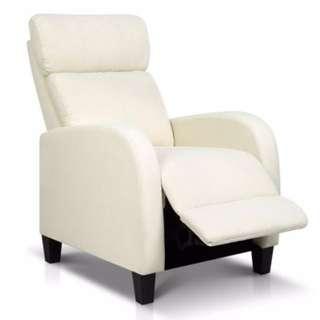 Linen Fabric Armchair Recliner - Beige
